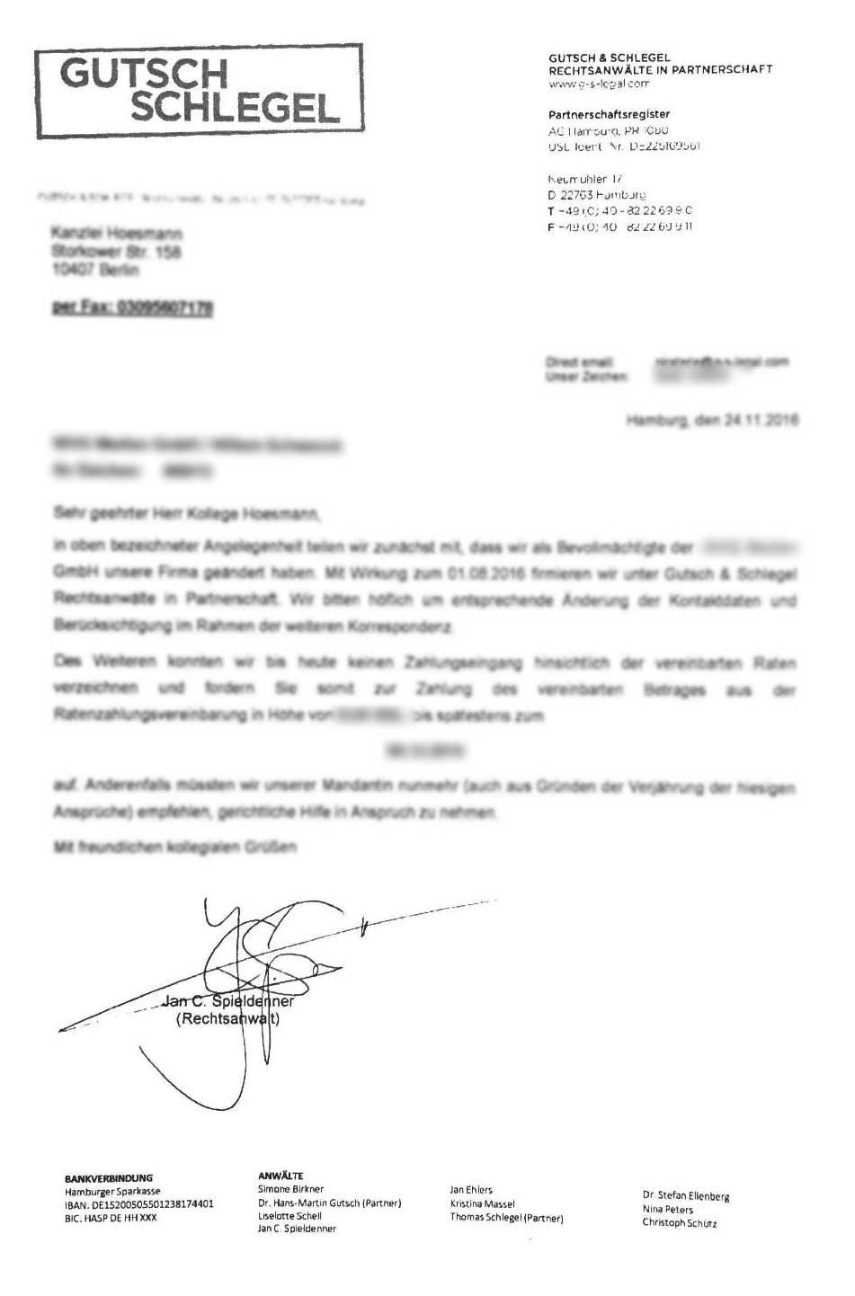 Mahnbescheid Und Schreiben Von Gutsch Schlegel Kanzlei Hoesmann